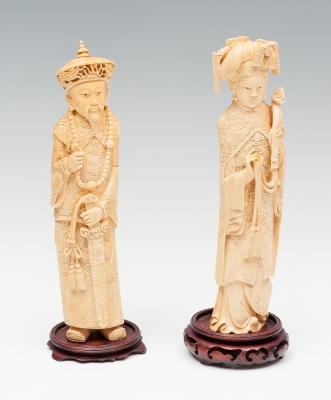 Pareja de emperadores; China, siglo XIX. Marfil