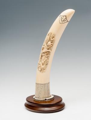 Colmillo tallado; China, hacia 1930. Marfil