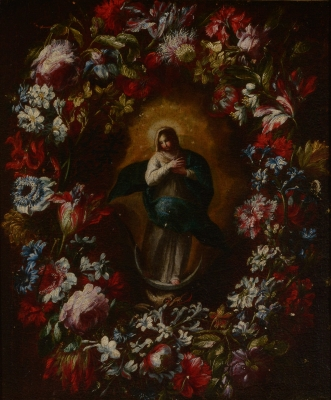 """""""Guirnalda de flores con la Inmaculada"""" Escuela romana"""