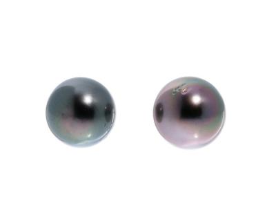 Pareja de pendientes dormilonas con dos perlas Tahití e