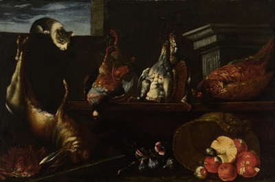 "Spanish school; XVII century.""Still life of hunting with cat, mushrooms and figs""Oil on canvas."