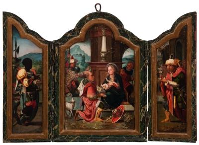 """""""Adoración de los reyes magos"""" Escuela flamenca, siglo XVI."""