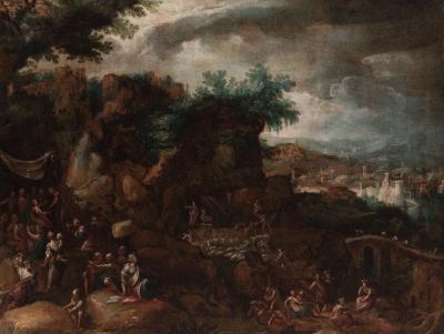 """Escena bíblica"". Escuela flamenca, siglo XVII."