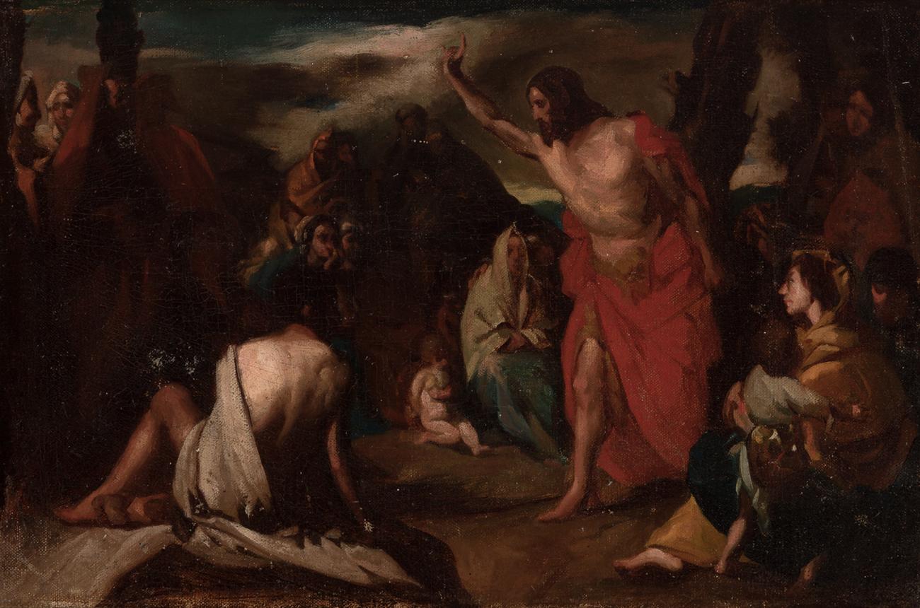 """Escuela italiana, siglo XVIII. """"La predicación de San Juan el ..."""