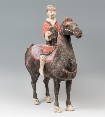 Jinete a caballo; China, dinastía Han, 206-220 d. C