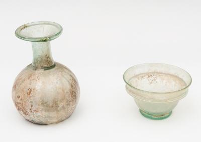 Cuenco y botella globular; Roma, siglo II d. C