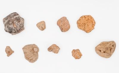 Conjunto de nueve cabezas Precolombinas; Mesoamérica, 400-800 d.
