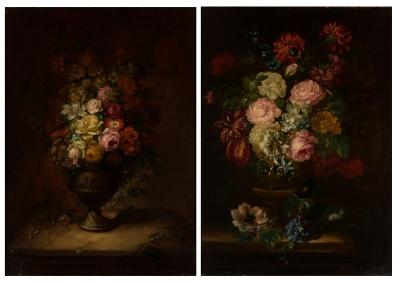 Pareja de bodegones de flores. Siglo XVIII.