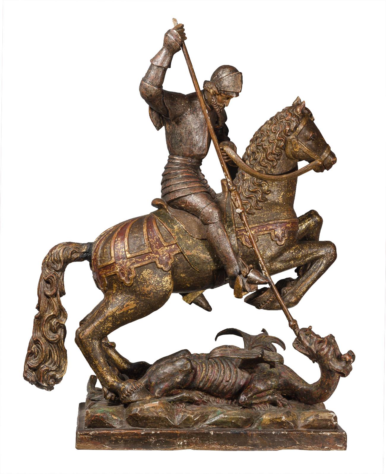 """""""San Jorge matando al dragón"""". Siglo XVI"""