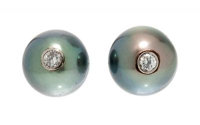 Pareja de pendientes dormilonas con una perla Tahití es
