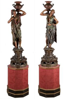 Pareja de esculturas orientalistas, hacia 1890.