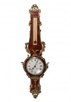 Reloj termómetro estilo Luis XV, Francia, siglo XIX.