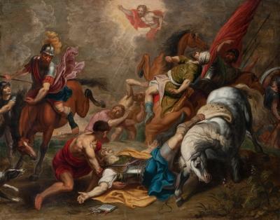 """""""La conversión de San Pablo"""" Escuela flamenca, siglo XVIII."""