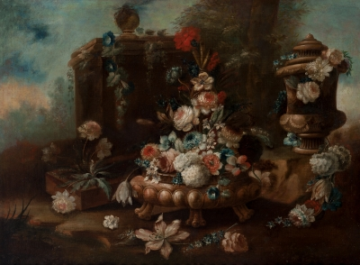 """""""Bodegón con flores"""" Escuela napolitana, siglo XVII."""