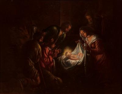 """""""Adoración de los pastores"""" Seguidor de Jacopo da Ponte  Bassano"""