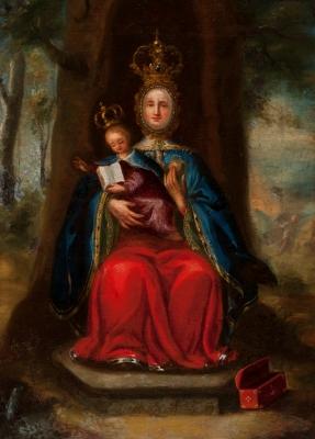 """""""Virgen de Valvanera"""" Escuela  española, siglo XVII."""
