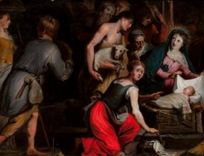 """""""Adoración a los pastores"""" Escuela flamenca, siglo XVII."""