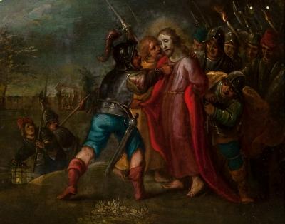 """""""El prendimiento de Cristo"""" Escuela flamenca, siglo XVII."""