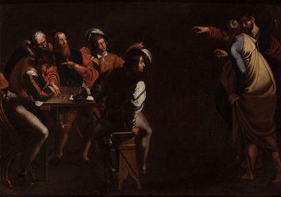 "Escuela holandesa, siglo XVII.""Jesús eligiendo a Mateo""."
