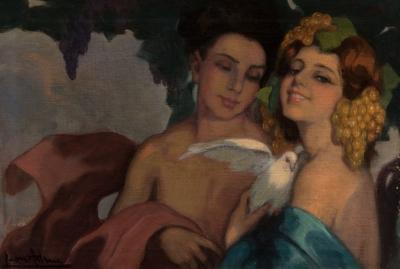 "Escuela valenciana del siglo XX. ""Dos damas""."
