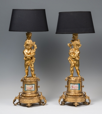 Pair of lamps on chandeliers. France, XIX-XX centuries.