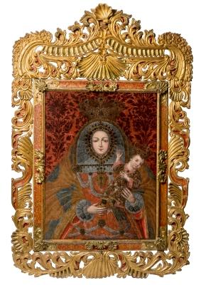 """""""Virgen con el Niño"""". Escuela cuzqueña de hacia 1700."""