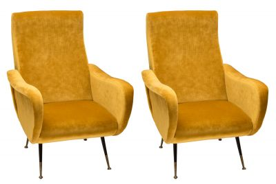 Lady style armchairs; Italy, 1950s.Velvet and wood.