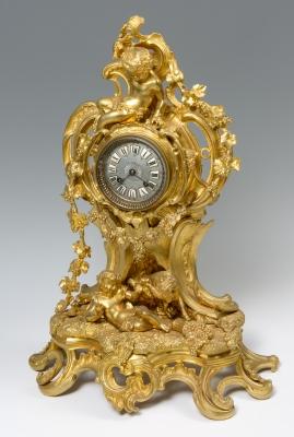 Reloj con alegoría del vino. Francia, siglo XIX.