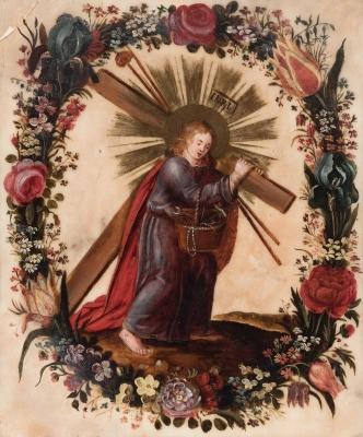 """""""Niño Jesús de la Pasión"""" Escuela andaluza del siglo XVIII."""