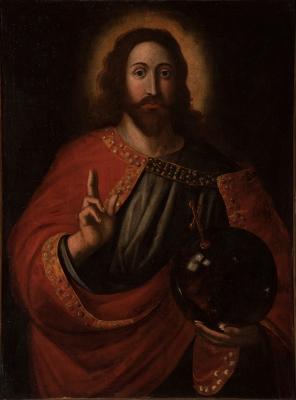 """""""Salvator Mundi"""". Escuela italiana del siglo XVII."""