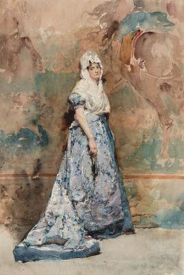 """JUAN LUNA Y NOVICIO (Badoc, Filipinas, 1857 – Hong Kong, 1899). """"Retrato mujer con abanico""""."""