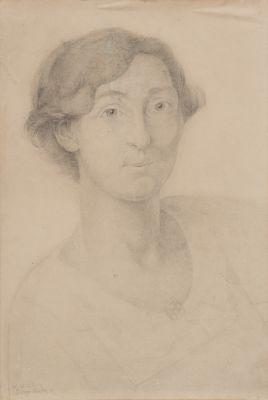 """DIEGO RIVERA (Méjico, 1886- 1957).""""Retrato a Elna Lubischz , 1918."""