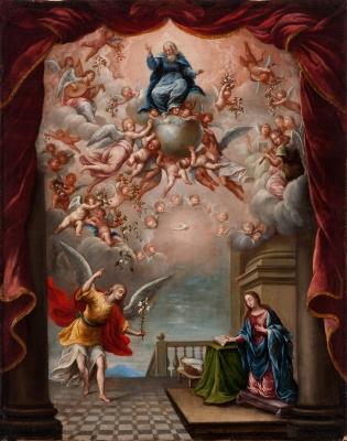 """""""Anunciación"""". Círculo de Antonio van de Pere"""