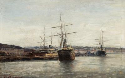 """""""Descargando el buque"""" Agustín Riancho y Gómez de la Mora"""