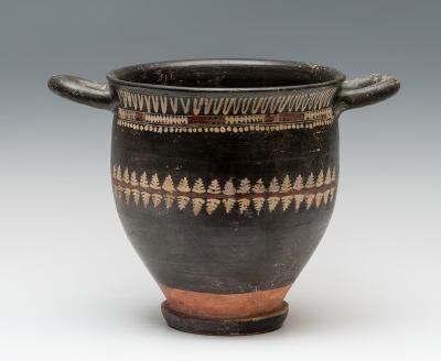 Skyphos; Gnathia, Magna Grecia, sur te Italia, siglo  IV a.