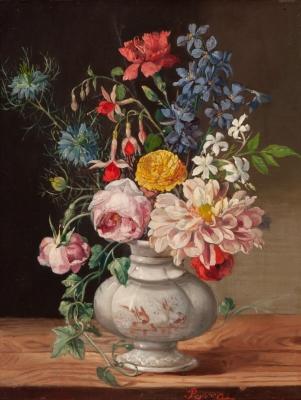 """Flores en jarrón de porcelana"" José Felipe Parra Piquer"