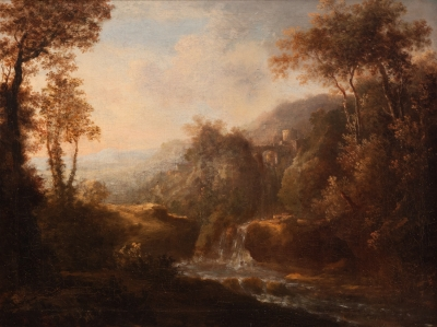 """Paisaje con cascada y ruinas"". Jan Dirkszoon Both"