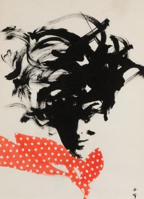 """Polka-dot scarf"", 1959. GRUAU, René"