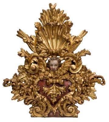 Remate de copete de retablo. Siglo XVII