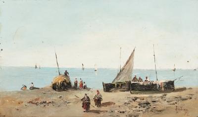 """""""Pescadores en la playa"""". Escuela española s XIX."""