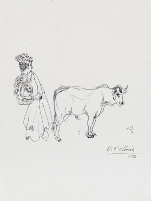 """""""Toro y torero"""", 1972. BENJAMÍN PALENCIA"""
