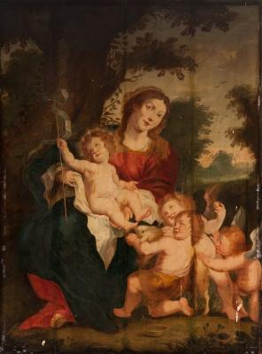 """""""Virgen con el Niño y San Juanito"""" Escuela flamenca, fi"""
