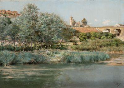 "EMILIO SÁNCHEZ PERRIER (Sevilla, 1855 – Granada, 1907). ""Paisaje de Alcalá de Guadaira""."