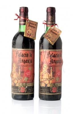 Dos botellas de Palacio de Arganza 1958.