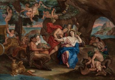 """""""Baco y Ariadna"""". Escuela francesa, siglo XVIII."""