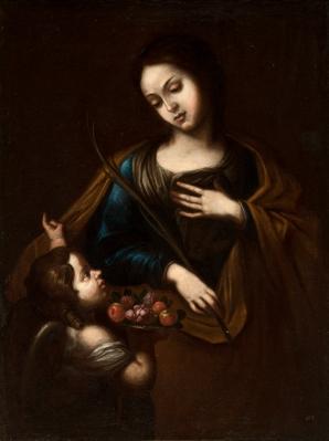 """Santa mártir con ángel"" Escuela española, siglo XVII."