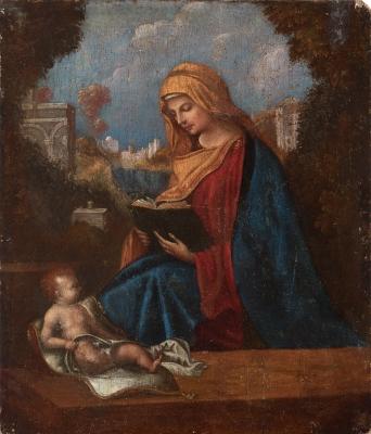 """""""Madonna con el Niño"""" Escuela veneciana del siglo XVI."""