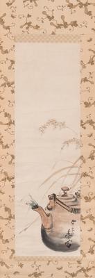 SHIBATA Zeshin (Japón, 1807 - 1891)Pintura en papel s