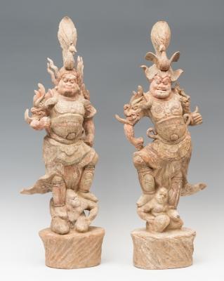 Pareja de Lokapalas; China, dinastía Tang (618-907 d.