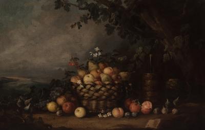 """Lote: 35171996José Martorell Puigdomenech (Cervera, Lleida, finales del siglo XIX – primera mitad del XX).""""Bodegón con frutas""""."""